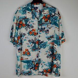 Parrot Paradise Tropical Print 100% Rayon Shirt